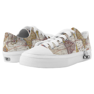 Vintage Antique Old World Map cartography Low Tops