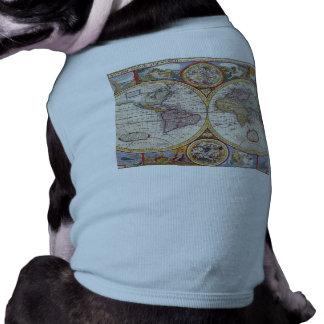Vintage Antique Old World Map cartography Sleeveless Dog Shirt