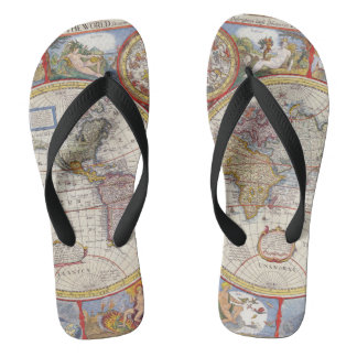 Vintage Antique Old World Map cartography Thongs