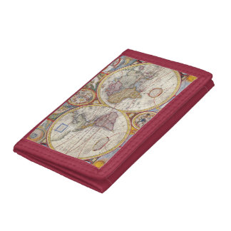 Vintage Antique Old World Map cartography Tri-fold Wallets