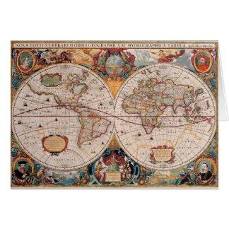 Vintage Antique Old World Map Design Faded Print Card