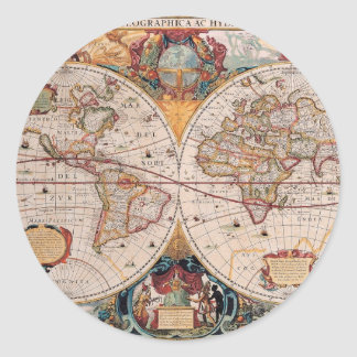Vintage Antique Old World Map Design Faded Print Classic Round Sticker