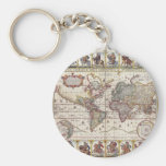 Vintage Antique Old World Map Design Faded Print Keychain
