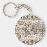 Vintage Antique Old World Map Design Faded Print Keychain