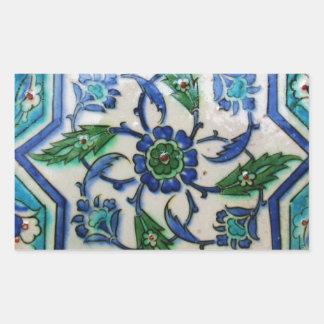 Vintage Antique Ottoman Tile Design Rectangular Sticker