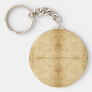 Vintage Antique Paper Scroll Basic Round Button Key Ring