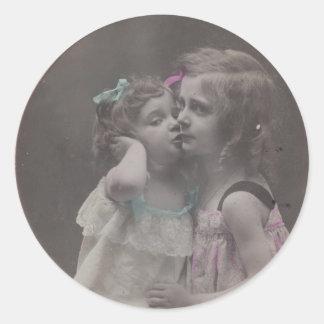 Vintage antique Photo Sticker FromMyDesk Round Sticker