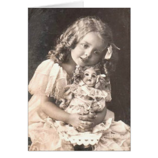 Vintage Antique Portrait of a Girl and her Doll Card