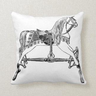 vintage antique rocking horse pillow black, white throw cushion