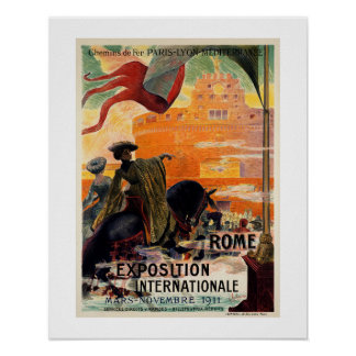Vintage antique Rome 1911 expo travel ad Poster
