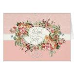 Vintage Antique Rose Floral Bouquet Thank You Note