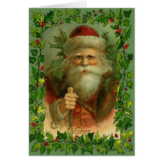 Vintage-Antique Santa Christmas Greeting Card
