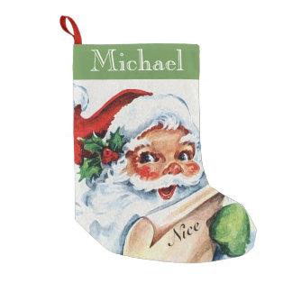 Vintage Antique Santa Nice List Christmas Stocking