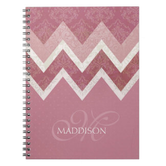 Vintage Antique Style Pink Chevron Custom Name Notebook