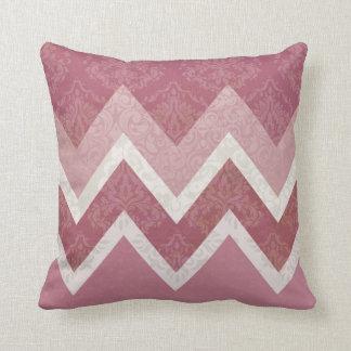 Vintage Antique Style Pink Chevron Design Cushion