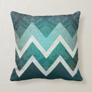 Vintage Antique Style Teal Chevron Design Cushion