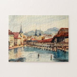 Vintage Antique Switzerland Lucerne Chapel Bridge Puzzle