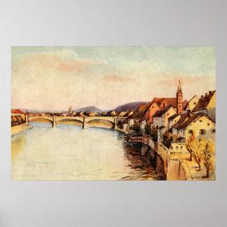 Vintage Antique Switzerland Rhine River Basel Poster
