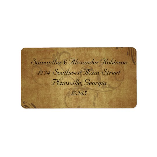 Vintage Antique Teastain Swirl Wedding Address Label