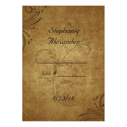 Vintage Antique Teastain Swirl Wedding PlaceCards Business Card Template