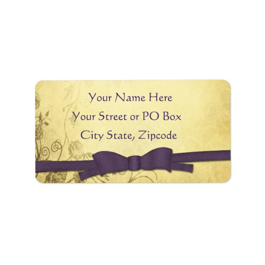 Vintage Antique With Bow Wedding Address Label