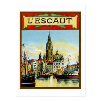 Vintage Antwerp port view advertising Postcard