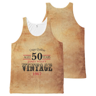 Vintage Any Age and Year Birthday All-Over Print Singlet