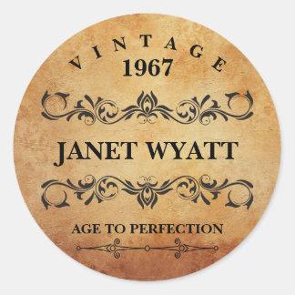 Vintage Any Age Birthday Classic Round Sticker