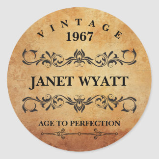 Vintage Any Age Birthday Round Sticker