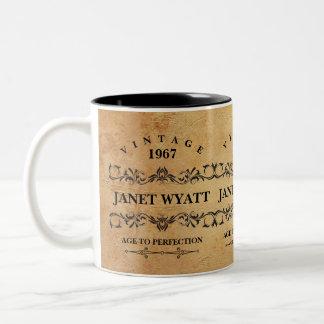 Vintage Any Age Birthday Two-Tone Coffee Mug