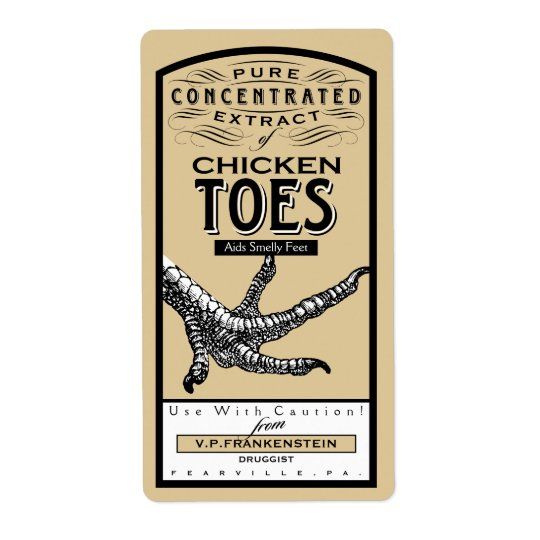 VINTAGE APOTHECARY CHICKEN TOES | HALLOWEEN LABEL