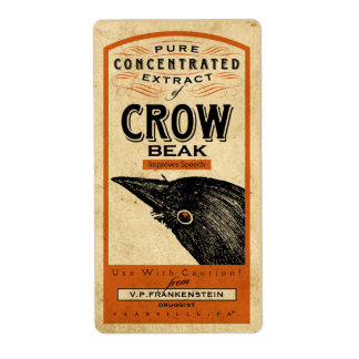 VINTAGE APOTHECARY CROW BEAK | HALLOWEEN LABEL