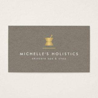 Vintage Apothecary Holistic Medicine Gold/Tan Business Card