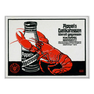 Vintage Appel Mayonnaise Advertisement Lobster Poster