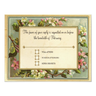 Vintage Apple Blossom, Tea Stained Typography 11 Cm X 14 Cm Invitation Card