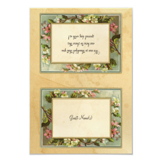 Vintage Apple Blossom, Tea Stained Typography DIY Card