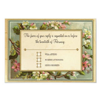 Vintage Apple Blossom, Tea Stained Typography 9 Cm X 13 Cm Invitation Card