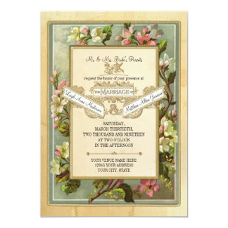 Vintage Apple Blossom, Tea Stained Typography 13 Cm X 18 Cm Invitation Card