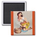 Vintage Apple Bobbing Gil Elvgren Pin Up Girl Refrigerator Magnet