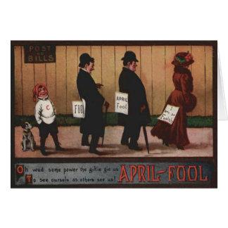 Vintage April Fool's Day Sign On Back Dog Greeting Card