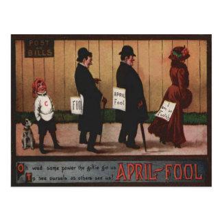 Vintage April Fool's Day Sign On Back Dog Postcard