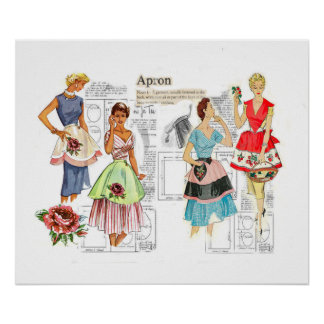 Vintage Apron Sewing Pattern Poster