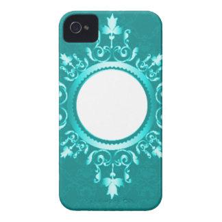 Vintage Aqua Blue Mint Green & White Scroll Frame Case-Mate iPhone 4 Cases