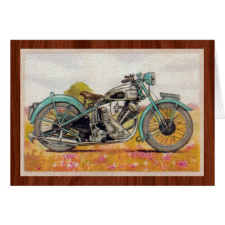 Vintage Aqua Blue Motorcycle Print Card
