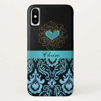 Vintage Aqua Damask with Heart iPhone X Case