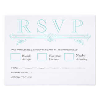 Vintage Aqua Turquoise Wedding RSVP Cards