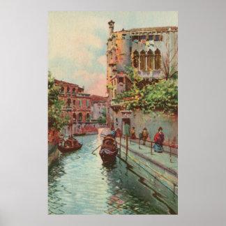 Vintage aquarelle Venice Rio Maravegie Canal Poste Poster
