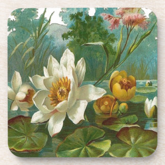 Vintage Aquatic Flower Coasters