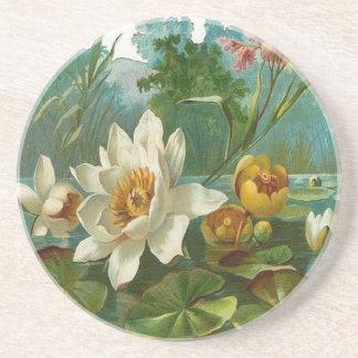 Vintage, Aquatic Flower, Wife Birthday Sandstone Coaster