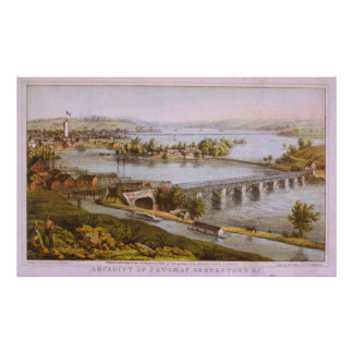 Vintage Aqueduct of Georgetown Map (1865) Poster